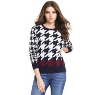 COTTON CASHMERE HOUNDSTOOTH SWEATER $149.00