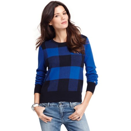 Tommy Hilfiger Final Sale- Colorblock Houndstooth Sweater- Final Sale - Cabernet / Midnight Htr / Snow White - Eur
