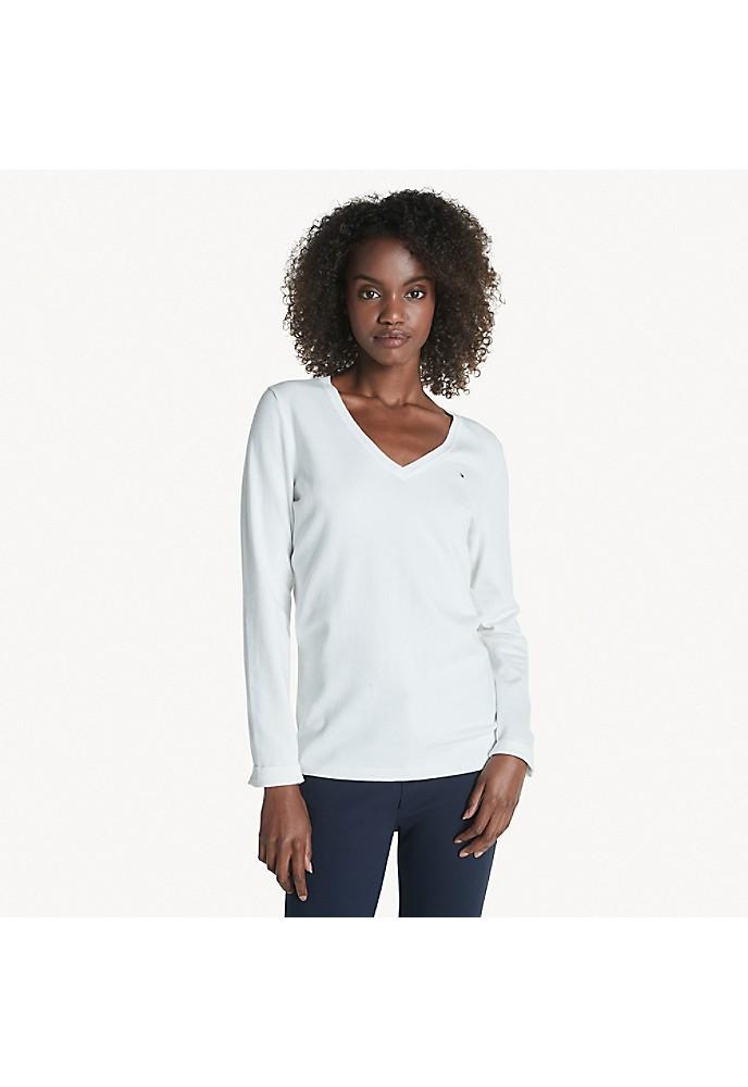 tommy hilfiger women 39 s classic v neck solid sweater ebay. Black Bedroom Furniture Sets. Home Design Ideas