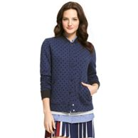 QUILTED DOT VARSITY JACKET $99.00