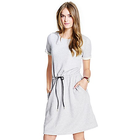 Tommy Hilfiger French Terry Dress - Cs Grey Heather / As Is Silver Tommy Hilfiger Women's Sweater. Styled From Soft-Washed French Terry, This Athleisure Dress Takes The Guesswork Out Of Dressing In One Easy Piece. • Classic Fit.• 100% Cotton. • Drawstring Waist, Short Sleeves. • Machine Washable. • Imported.