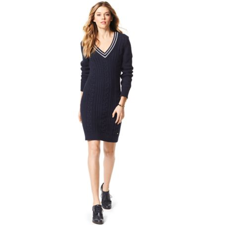 Tommy Hilfiger Varsity Cableknit Dress - Navy