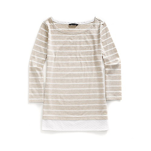 Two-Fer Solid Stripe Top - Oatmeal/White