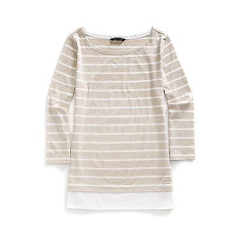Tommy Hilfiger Final Sale- Two-Fer Solid Stripe Top - Oatmeal/White - L