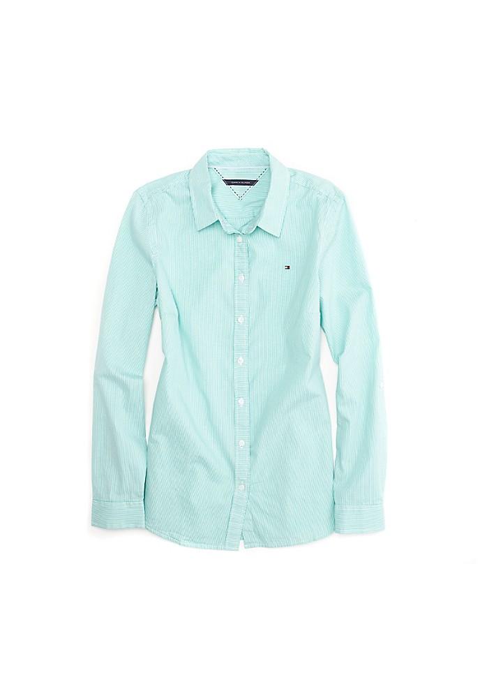 Tommy hilfiger women 39 s stripe shirt ebay for Tommy hilfiger fitzgerald striped shirt