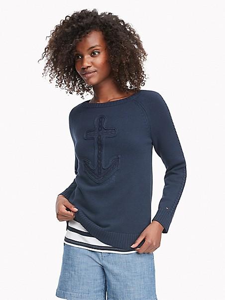 타미 힐피거 Tommy Hilfiger Essential Cableknit Sweater,MASTERS NAVY