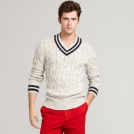 V NECK CRICKET SWEATER $99.99