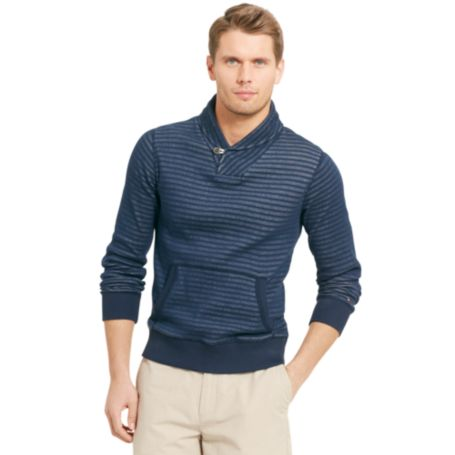 Image for STRIPE SHAWL COLLAR FLEECE from Tommy Hilfiger USA