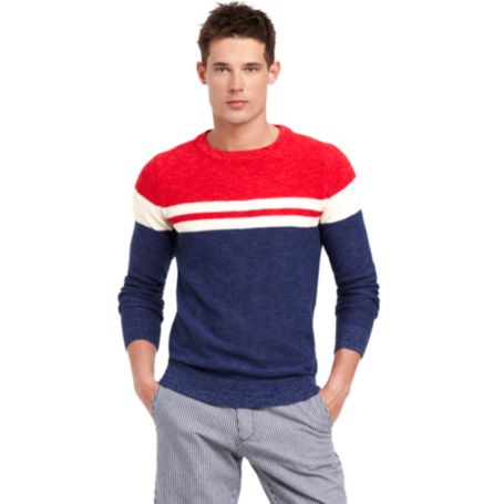 Image for RED WHITE AND BLUE COLORBLOCK SWEATER from Tommy Hilfiger USA