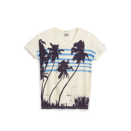 Image for PALM TREE VINTAGE FEEL VNECK TEE from Tommy Hilfiger USA