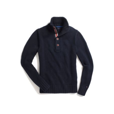 Image for BUTTON MOCK NECK SWEATER from Tommy Hilfiger USA