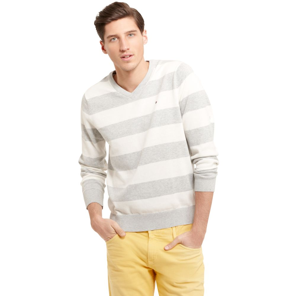Image for RUGBY STRIPE VNECK SWEATER from Tommy Hilfiger USA