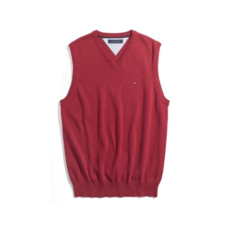 Image for SOLID VNECK SWEATER VEST from Tommy Hilfiger USA