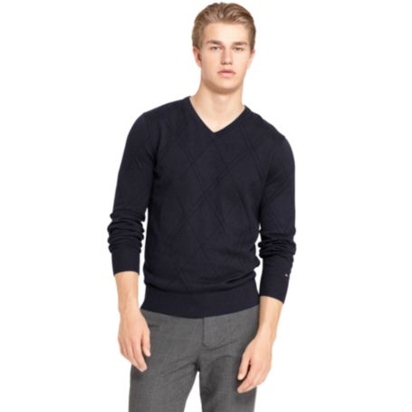 Image for COTTON CASHMERE ARGYLE SWEATER from Tommy Hilfiger USA