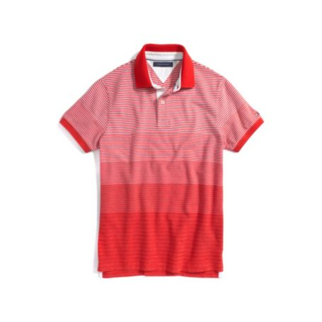 CUSTOM FIT PIQUE DIAGIONAL STRIPE POLO