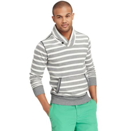 Image for STRIPE SHAWL NECK FLEECE from Tommy Hilfiger USA