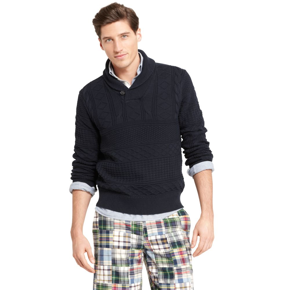 Image for TEXTURED SHAWL SWEATER from Tommy Hilfiger USA