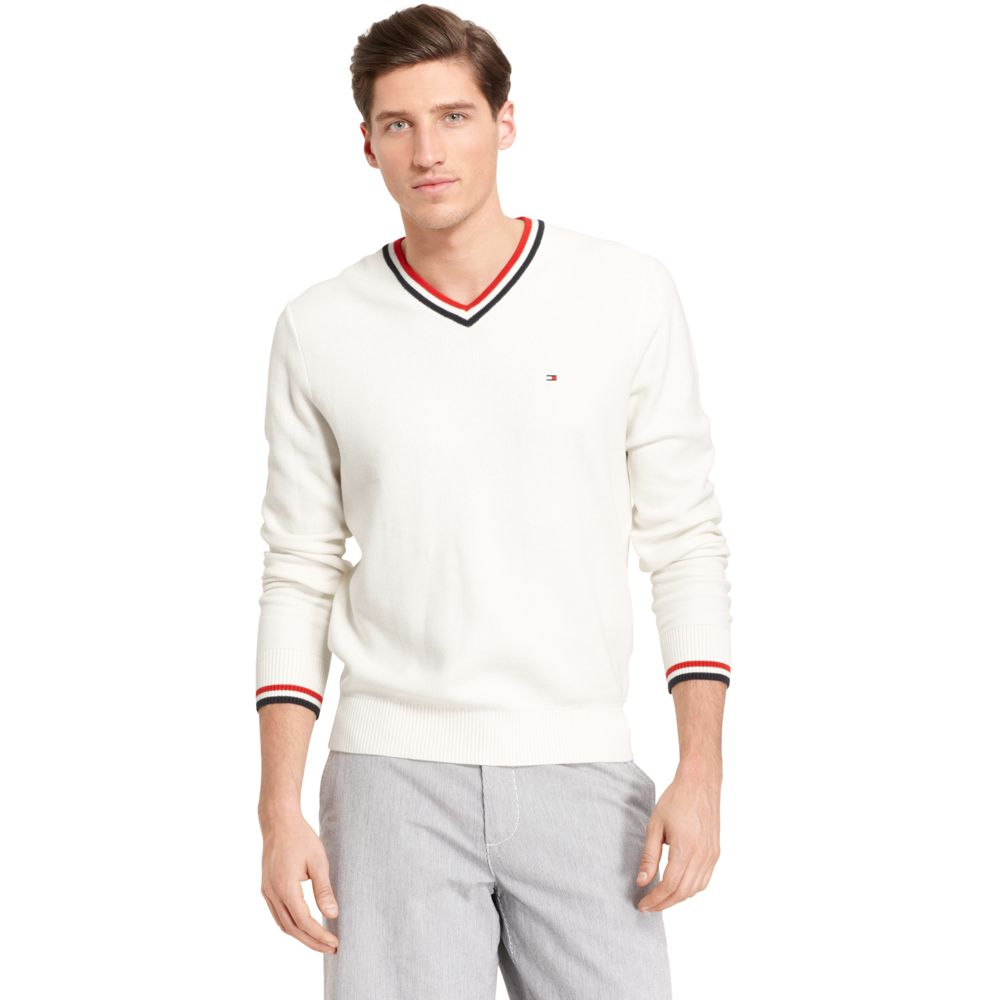 Image for PIQUE VNECK SWEATER from Tommy Hilfiger USA