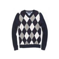 COTTON JERSEY ARGYLE VNECK SWEATER $42.00