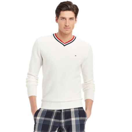 Image for CRICKET PIQUE VNECK SWEATER from Tommy Hilfiger USA