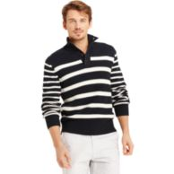 BUTTON MOCK STRIPE SWEATER $69.99
