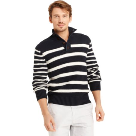 Image for BUTTON MOCK STRIPE SWEATER from Tommy Hilfiger USA