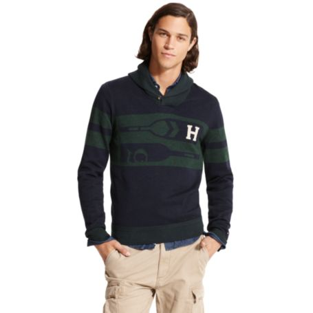 Image for OAR PRINTED SHAWL NECK SWEATER from Tommy Hilfiger USA