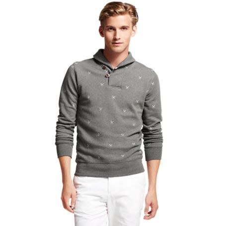 Image for EMBROIDERED PADDLE SHAWL NECK FLEECE from Tommy Hilfiger USA