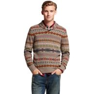 FAIRISLE SHAWL NECK SWEATER $119.99