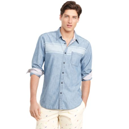 Image for CHAMBRAY STRIPE SHIRT from Tommy Hilfiger USA