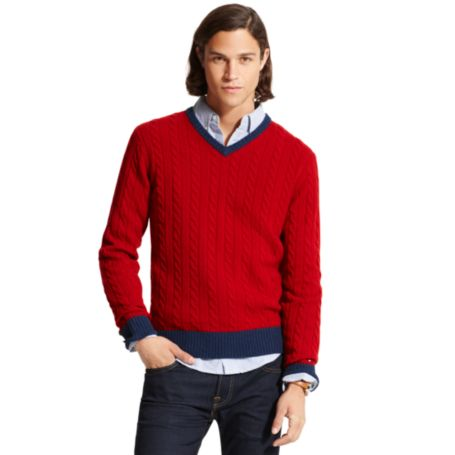 Image for CABLE V NECK SWEATER from Tommy Hilfiger USA