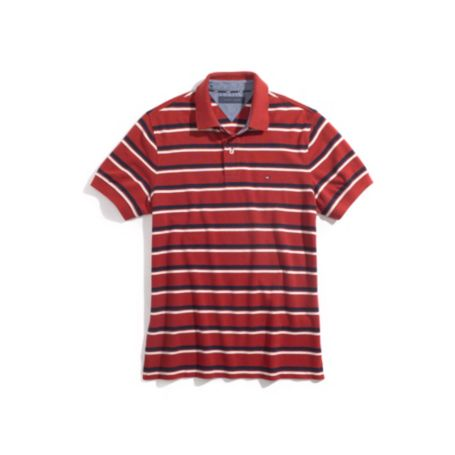 CUSTOM FIT JERSEY STRIPE POLO