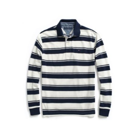 CUSTOM FIT LONG SLEEVE DIAGONAL STRIPE RUGBY