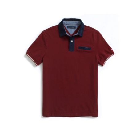 Image for CUSTOM FIT PIQUE WOVEN COLLAR POCKET POLO from Tommy Hilfiger USA