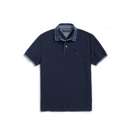 Image for CUSTOM FIT JERSEY WOVEN COLLAR POLO from Tommy Hilfiger USA