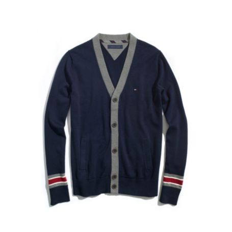 Image for SOLID CARDIGAN WITH CONTRAST TRIM from Tommy Hilfiger USA