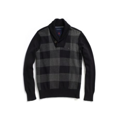 Image for BUFFALO CHECK SHAWL COLLAR SWEATER from Tommy Hilfiger USA