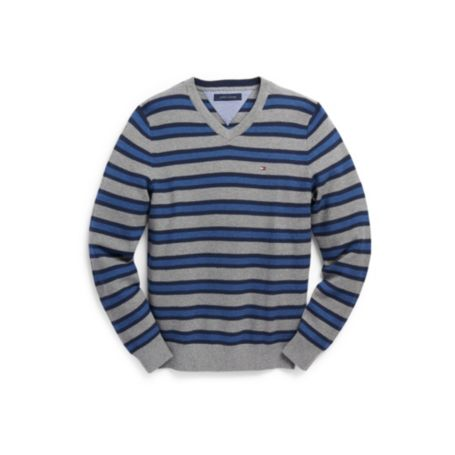Image for COTTON CASHMERE STRIPE VNECK SWEATER from Tommy Hilfiger USA