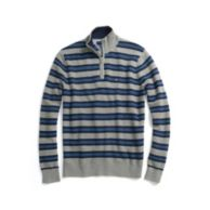 COTTON CASHMERE STRIPE HALF ZIP SWEATER $69.99