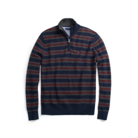 Image for COTTON CASHMERE STRIPE HALF ZIP SWEATER from Tommy Hilfiger USA