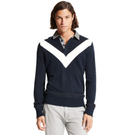 Image for CHEVRON STRIPE POLO SWEATER from Tommy Hilfiger USA