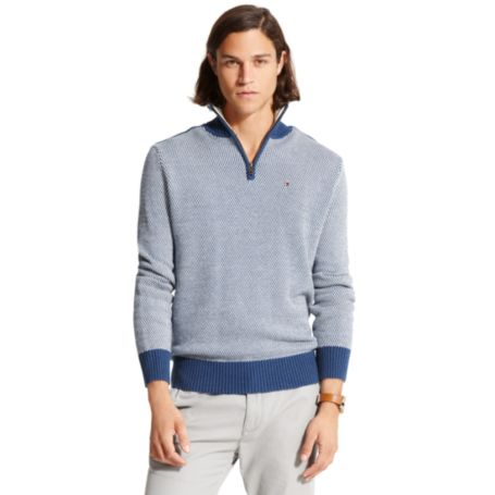Image for SEMI-PATTERN HALF ZIP MOCK SWEATER from Tommy Hilfiger USA