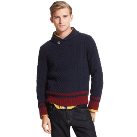Image for COLORBLOCK SHAWL COLLAR SWEATER from Tommy Hilfiger USA