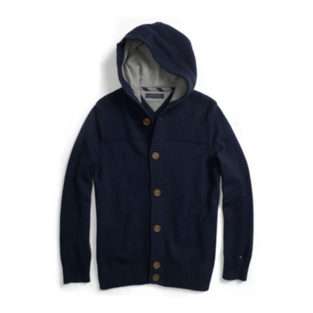 Image for HOODED BUTTON SWEATER from Tommy Hilfiger USA