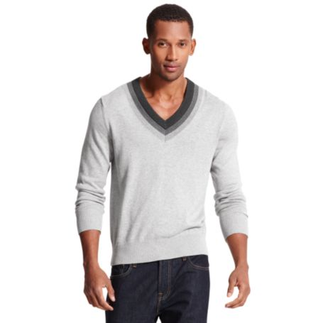 Image for TIPPED V NECK SWEATER from Tommy Hilfiger USA
