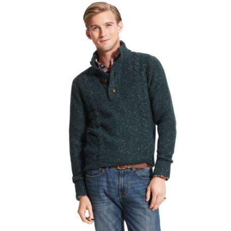 Image for CABLE BUTTON MOCK NECK SWEATER from Tommy Hilfiger USA