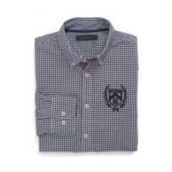 CUSTOM FIT PLAID SHIRT WITH CHEST LOGO $54.50