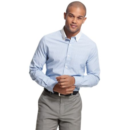 Image for CUSTOM FIT STRIPE SHIRT WITH CONTRAST COLLAR from Tommy Hilfiger USA