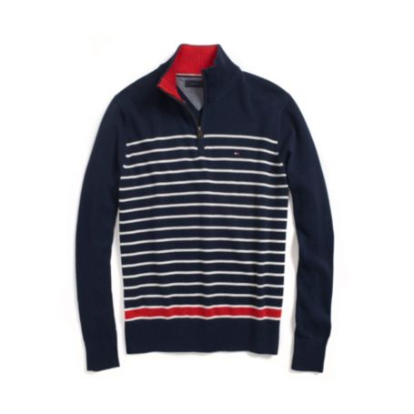 Image for STRIPE HALF ZIP MOCK SWEATER from Tommy Hilfiger USA