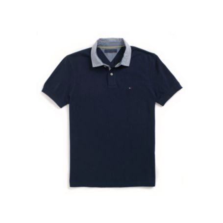Image for CUSTOM FIT WOVEN COLLAR POLO from Tommy Hilfiger USA